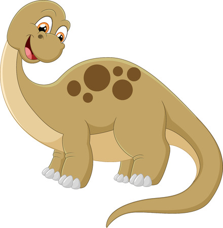 powerful: Long neck dinosaur on white illustration Stock Photo