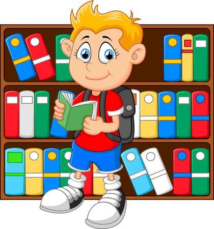 kid illustration: illustration of boy in library