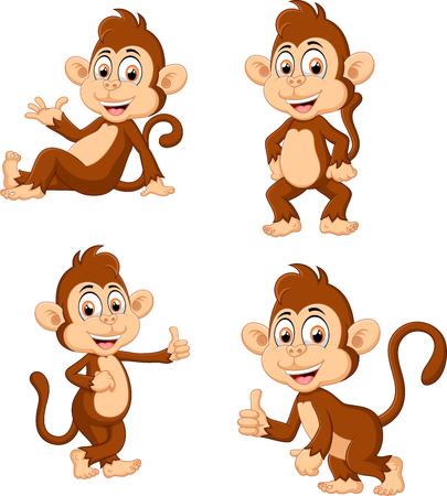 expression: illustration of monkey many expressions Stock Photo