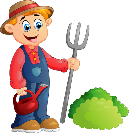 happy farmer: Cartoon illustration of a farmer