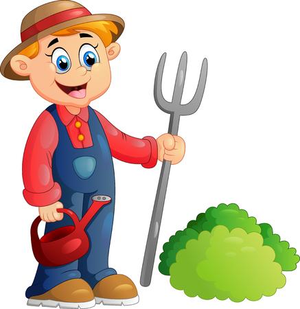 jardineros: Ilustración de dibujos animados de un agricultor Foto de archivo