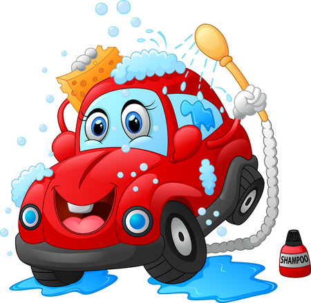 car clean: Cartoon car wash character