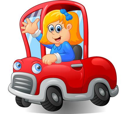 carro caricatura: Niña de dibujos animados feliz que conduce un coche Foto de archivo
