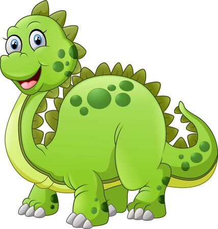 spikes: green dinosaur with spikes tail illustration Stock Photo
