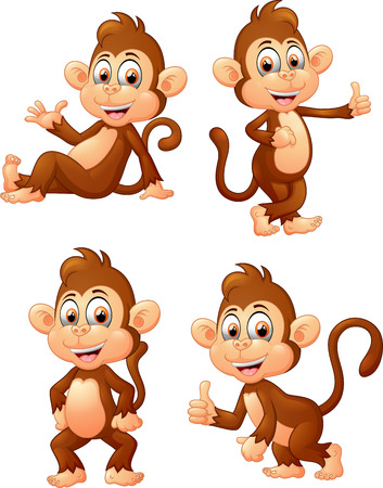 cute monkey: illustration of monkey many expressions Stock Photo