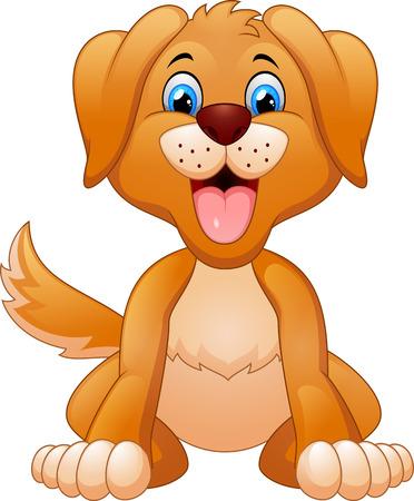 cute dog: Cartoon cute dog sitting Stock Photo