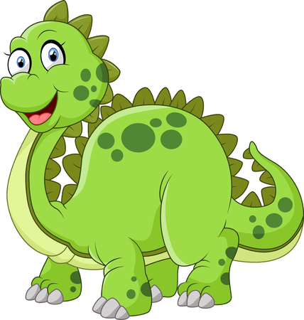spikes: green dinosaur with spikes tail illustration Illustration