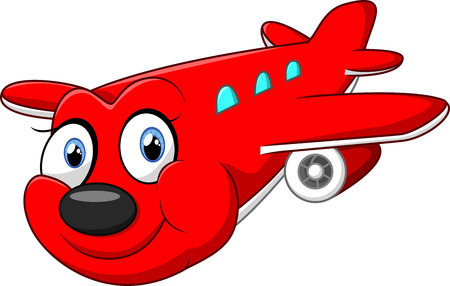 private airplane: illustration of red cartoon airplane