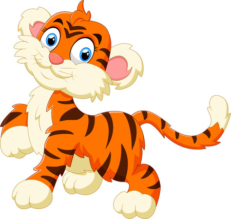cute little tiger cartoon 일러스트