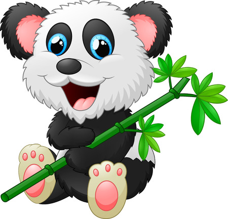 comic characters: cute little panda hold bamboo