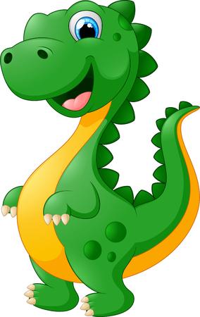 dinosaurio caricatura: lindo dinosaurio de dibujos animados