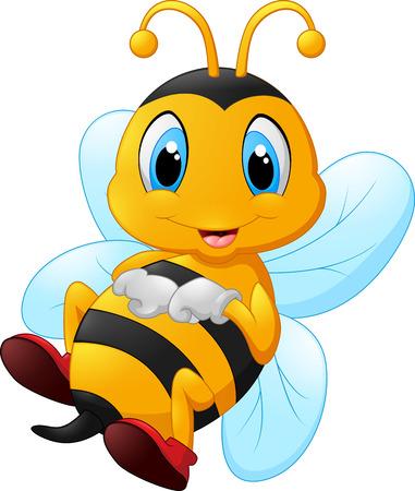 abeja reina: linda de la historieta de la abeja Vectores