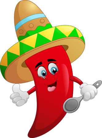spicy mascot: red chili cartoon Illustration