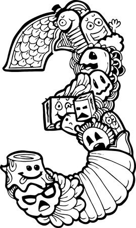 Doodle del número 3 de la ilustración Foto de archivo - 46818993