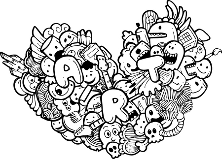 silly: heart doodle illustration