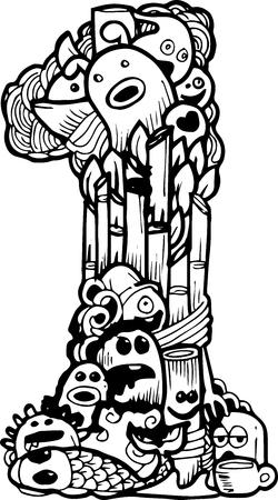 1: doodle number 1 illustration
