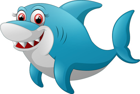 comical: Comical shark character on white Stock Photo