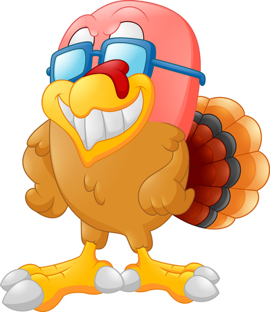 funny animals: cute turkey cartoon Stock Photo