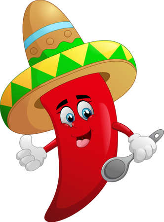 spicy mascot: cute chili cartoon Stock Photo