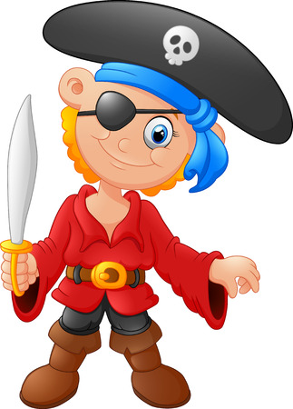 pirate cartoon: little kid holding sword