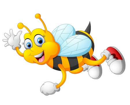 bee on white flower: cute bee cartoon