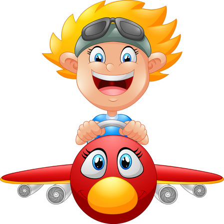 Cartoon Boy Flying Plane Illusztráció