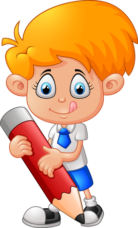 school illustration: Little boy with pencil
