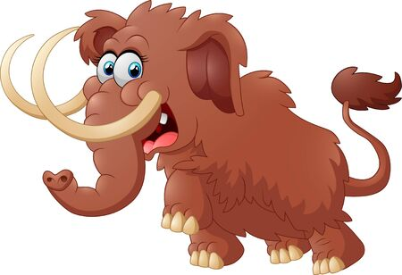 woolly: Cute mammoth cartoon isolated on white background