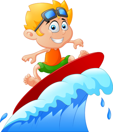 Kids play surfing on surfboard over big wave Stock Illustratie
