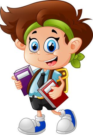 kindergartner: little boy holding books
