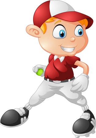 overhand: little boy playing baseball cartoon