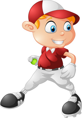 overhand: little boy playing baseball cartoon