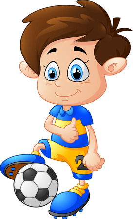 kid playing: cartoon boy playing football