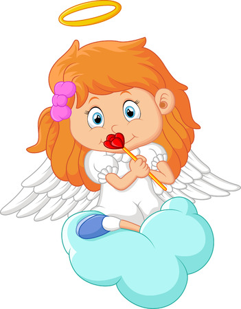 cute angel: Cartoon angel isolated on white background