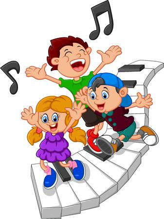 漫画の子供たちとピアノのイラスト