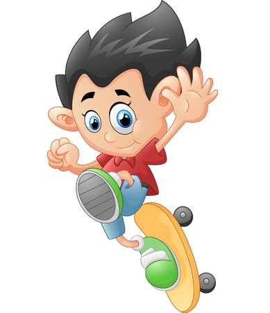 skateboard boy: Happy Cartoon Skateboard Boy