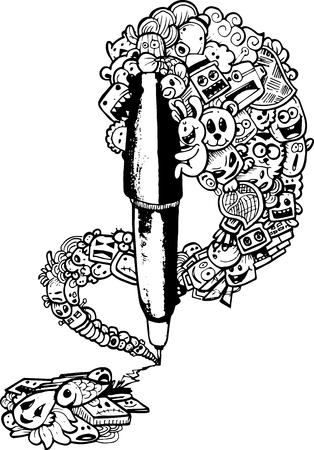 draftsmanship: pen doodle illustration