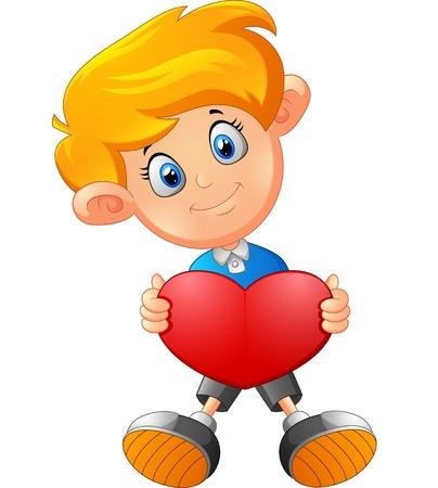 red hair: Boy with heart cartoon Illustration
