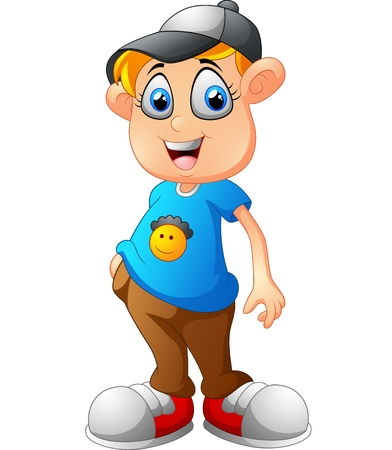 lovable: Cute boy cartoon posing
