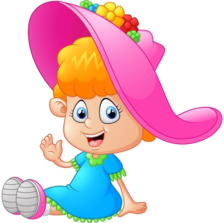 girl happy: little girl cartoon Stock Photo