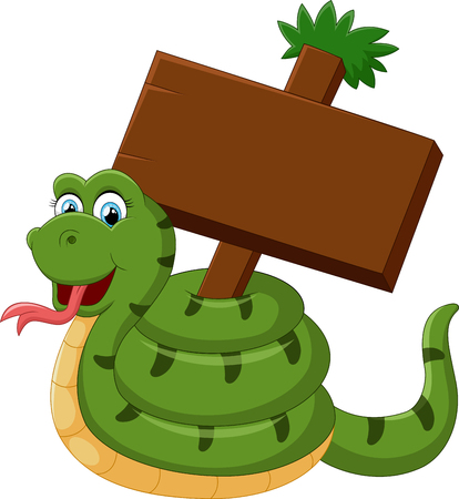 Funny snake with blank sign Stock Photo