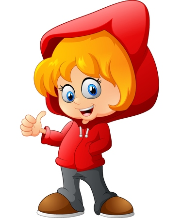 little red riding hood: cartoon little girl
