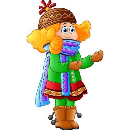 Nettes kleines Mädchen im Winter Standard-Bild - 48041095