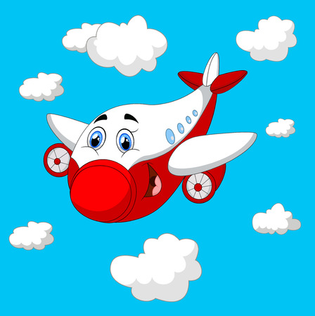 cartoon land: Cartoon plane charachter Stock Photo