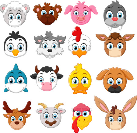 animal head: Cartoon animal head collection set