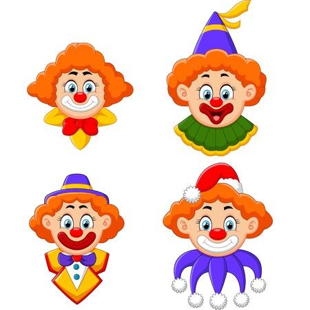 clown circus: Clowns head collection