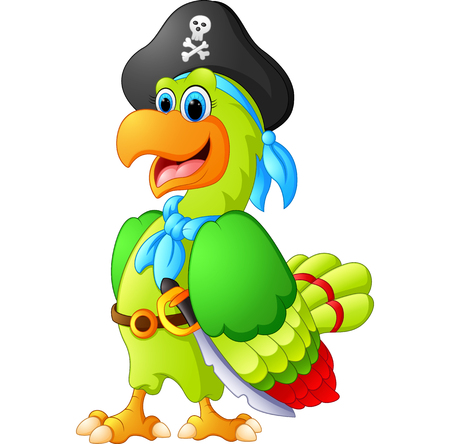 chest wall: funny parrot with pirate costum