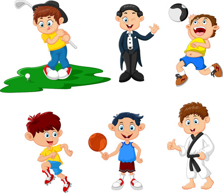 pitching: many children doing sport cartoon