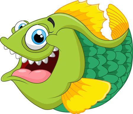 fang: Cartoon of green piranha