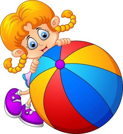 red ball: Cartoon little girl holding ball